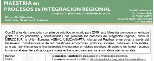UBA – Economía y Negocios Internacionales – Maestría enProcesos de Integración Regional (MPIR)